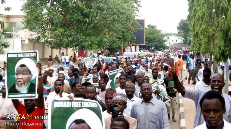 "IMN members stage ""Free Zakzaky"" protest in Abuja, Nigeria in May 2018 (Source: AhlulBayt News Agency)"