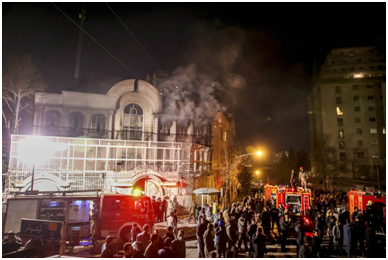 The Saudi Embassy in Tehran on fire in January 2016 after being attacked by an Iranian mob.