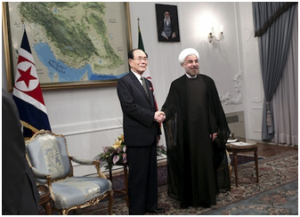 During his inauguration festivities on August 3, 2013, Iranian President Hassan Rouhani met with Kim Yong Nam, the head of North Korea's parliament.