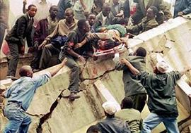 "Iran provided ""material support"" to Al Qaeda essential for the execution of the 1998 U.S. embassy bombings (pictured) which killed 223 people and injured thousands."