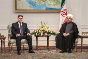 "Newly elected Iranian President Hassan Rouhani vows ""to strengthen"" Iran's relations with Syria in a meeting with Syrian Prime Minister Wael al-Halqi on August 4, 2013."