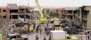 The Aftermath of the 2003 Riyadh compound bombings (pictured), reportedly planned and ordered by Al Qaeda operatives in Iran. 35 people died in the attack, including 8 Americans.