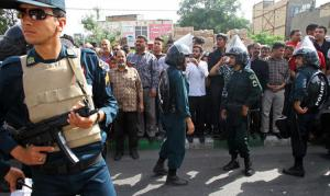 The Law Enforcement Force of the Islamic Republic of Iran breaks up a demonstration
