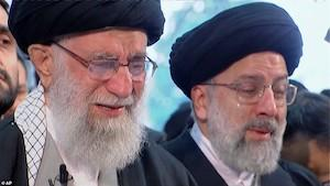 Left to Right: Supreme Leader Ayatollah Ali Khamenei and Chief Justice Ayatollah Ebrahim Raisi at the funeral of former IRGC-Quds Force Commander Qassem Soleimani