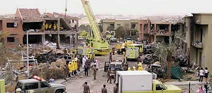 Aftermath of the 2003 Riyadh compound bombings (pictured), reportedly planned and ordered by Al Qaeada operatives in Iran. 35 people died in the attack, including 8 Americans.